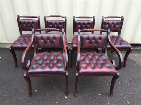 set 6 oxblood chesterfield leather dining chairs sold