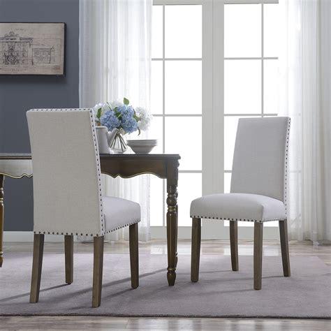 belleze set   dining chairs linen armless nailhead