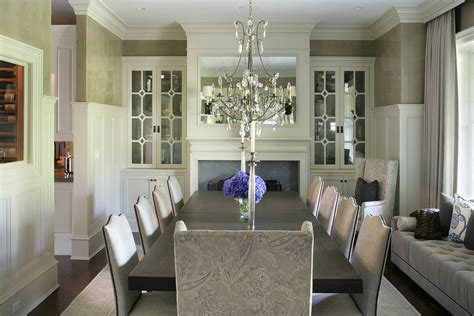 Chic Electric Fireplace Insert In Dining Room Traditional