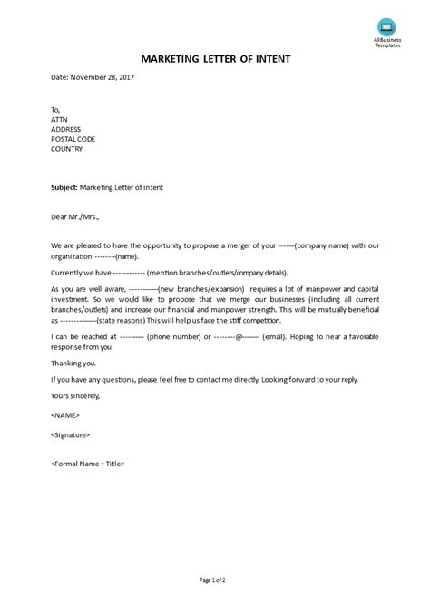 marketing letter  intent templates
