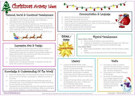 christmas activity ideas sheet mindingkids