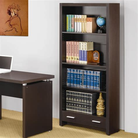 4 shelf open bookcase coaster skylar 800905 4 shelf bookcase with storage drawer
