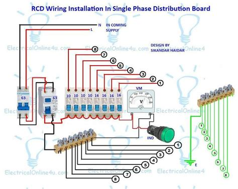 a complete diagram of single phase distribution board with pole mcb wiring rcd wiring