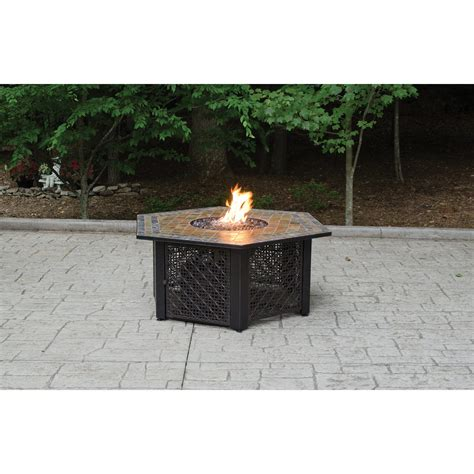 propane gas fire pit outdoor table by blue rhino blue rhino propane gas slate fire pit table dfohome