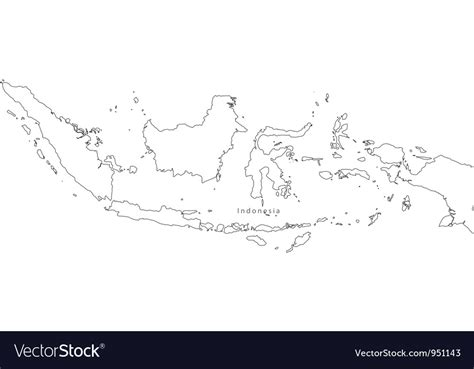 black white indonesia outline map royalty  vector image