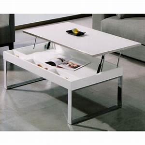 Table Basse Relevable Blanche : table basse plateau relevable table basse blanche trendsetter ~ Teatrodelosmanantiales.com Idées de Décoration