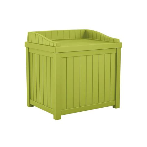 suncast 22 gallon deck box suncast 22 gal green small storage seat deck box shop