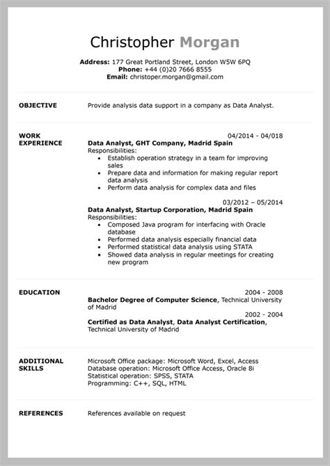 Cv Document Template by 10 Free Cv Templates In Word Document