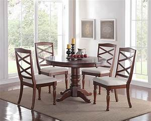 Easton, 48, U0026quot, Dark, Cherry, Round, Dining, Room, Table, With, Four, Chairs