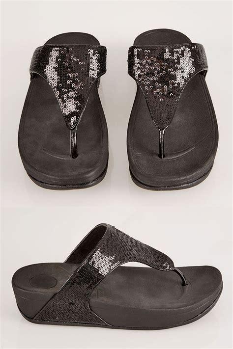 Czarne, Masywne Sandały Zdobione Cekinami Eee Fit