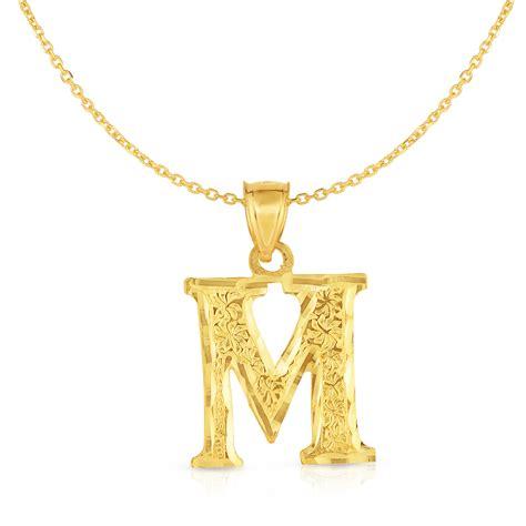 floreo floreo  yellow gold block letter pendant