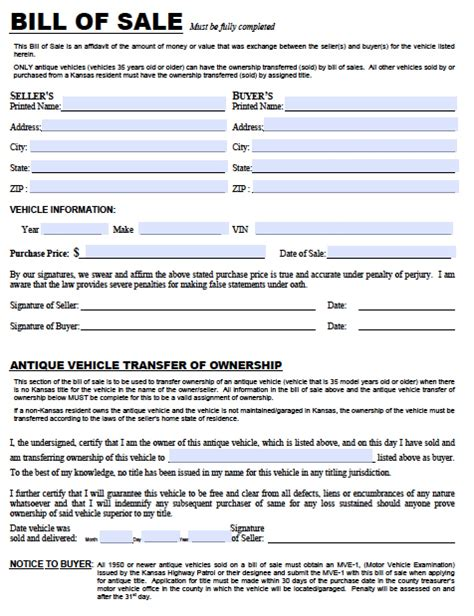 Boat Bill Of Sale Kansas by Free Kansas Dmv Vehicle Bill Of Sale Tr 12 Form Pdf
