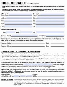 bill dmv bill of sale form With dmv documents bill of sale