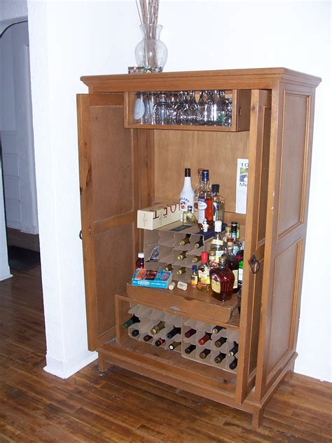 Make Liquor Cabinet Ideas by Diy Liquor Cabinet Made From Armoire Decofurnish