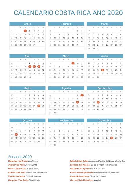 calendario de costa rica ano feriados
