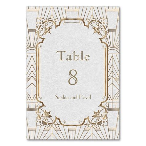 Chic White Gold Great Gatsby Art Deco TABLE NUMBER