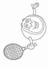 Tennis Racket Coloring Tennisbaan Ball Lachende Kleurplaat Tennisbal 1001coloring Smiling Leukekleurplaten sketch template