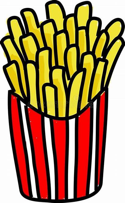 Fries French Chips Clipart Chip Drawing Carton
