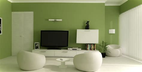 beautiful small living room design with green wall paint