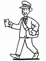 Coloring Postman Office Pages Preschool Community Helpers Stamps Template Digital Activities sketch template