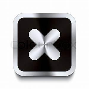 Square metal button - cancel icon - black | Stock Vector ...