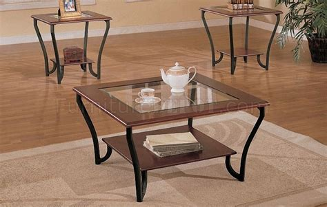 Triangle coffee table modern glass top with wood base, walnutby interior modern decor(107). Cherry Brown Artistic 3PC Coffee Table Set w/Glass Inlay Top