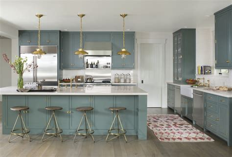 blue green kitchen cocinas con isla m 225 s de 45 espacios elegantes y pr 225 cticos 1725