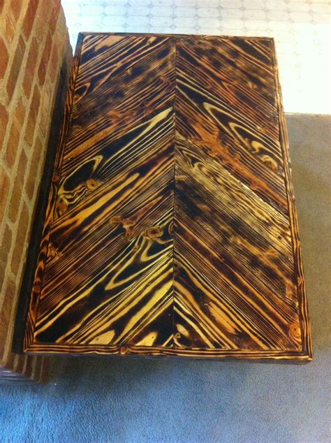 pallet wood coffee table  chevron  torched wood
