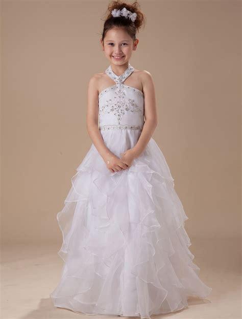 hater organza satin white kid dresses  wedding flower