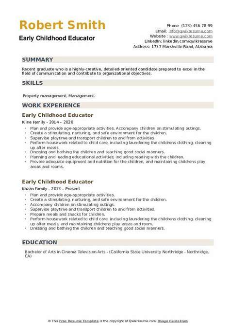 early childhood educator resume samples qwikresume