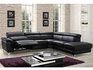 canape angle relax electrique en cuir noir sitia With canape d angle relax en cuir