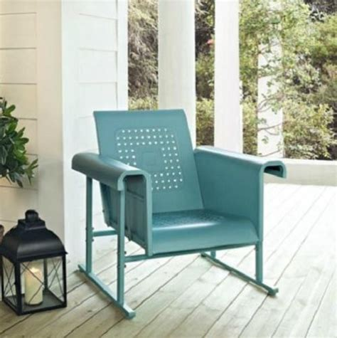 blue outdoor metal retro vintage style glider chair patio