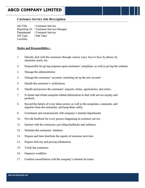Resume Server Description by Customer Service Rep Responsibilities Resume
