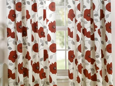 Poppy Red Floral Curtains 66 X 72 Www.perfectlyboxed.com Bronze Shower Curtain Rod And Hooks Nautical Curtains Bath Accessories Extra Long Curved How To Figure Out Much Fabric You Need For French Door Panels Uk Where Purchase Wide