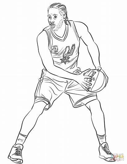 Coloring Leonard Kawhi Pages Basketball Nba Printable