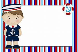 Menino Marinheiro Azul e Vermelho Kit Completo com molduras para convites, rótulos para