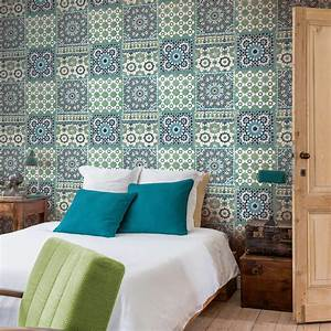 papier peint intisse morrocan mosaik bleu leroy merlin With carrelage adhesif salle de bain avec tete de lit avec eclairage led