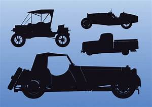 Old car silhouettes at side view Vector | Free Download