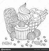Coloring Cupcake Cake Dessert Ice Cream Sweets Candy Mail Depositphotos Sweet Fox Ru sketch template