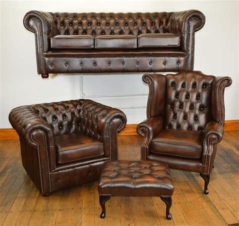 Settee Suites by Chesterfield Leather Suite Chair Sofa B New 3 Colours
