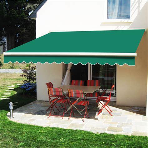 manual awning retractable patio canopy garden sun shade outdoor green  ebay