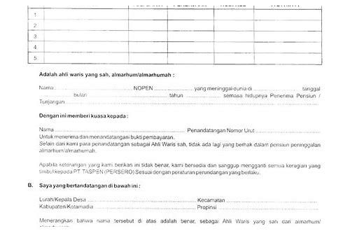 Download Surat Kuasa Ahli Waris Taspen Scibga