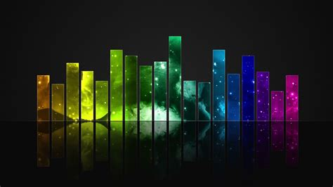 animated colorful cosmic glass audio visualization bars
