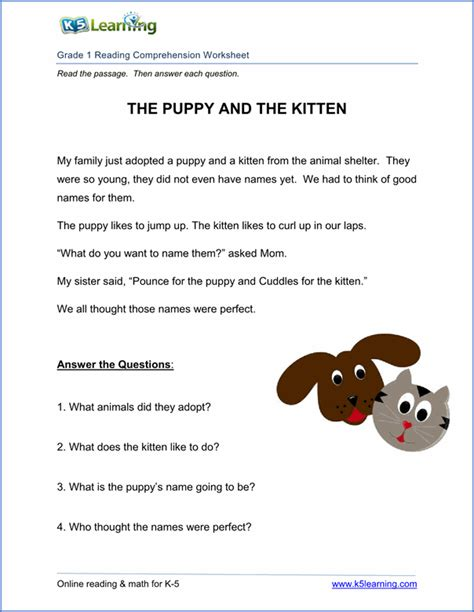 free printable first grade reading comprehension worksheets k5 learning