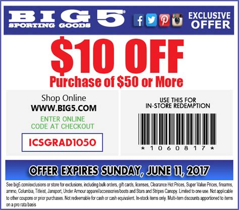 big 5 sporting goods coupons september 2018