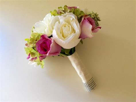 Pink Bush Pink Ivory White And Green Bridal Bouquet