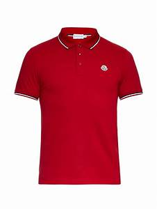 Lyst - Moncler Striped-Trim Cotton Polo Shirt in Red for Men