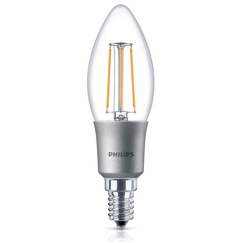 4x philips led 40w dimmable e14 edison warm white candle