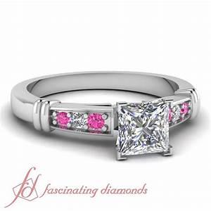 80 ct princess cut diamond pink sapphire modern for Princess cut pink diamond wedding rings