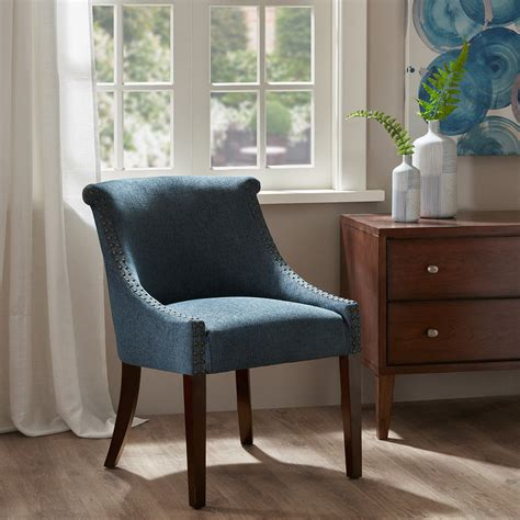 denim blue upholstered accent chair dining chair lounge